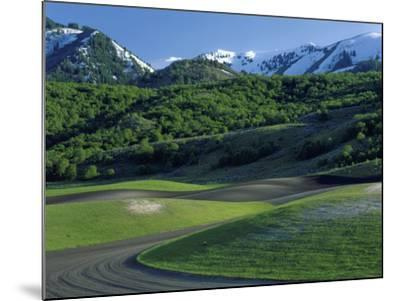 Utah. USA. Fields in Spring Below Wellsville Mountains. Cache Valley-Scott T^ Smith-Mounted Photographic Print