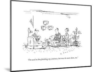 A couple speaks to a therapist.  - New Yorker Cartoon-Barbara Smaller-Mounted Premium Giclee Print