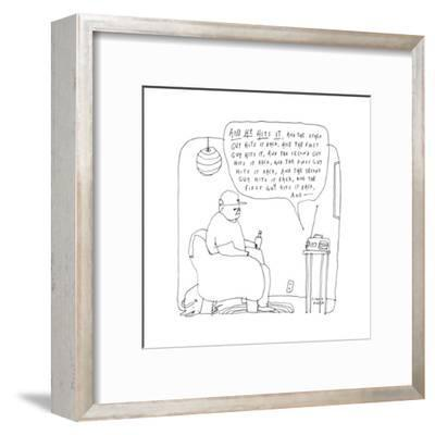 """A man listens to the radio, which describes a game as """"he hits it, and the... - New Yorker Cartoon-Liana Finck-Framed Premium Giclee Print"""