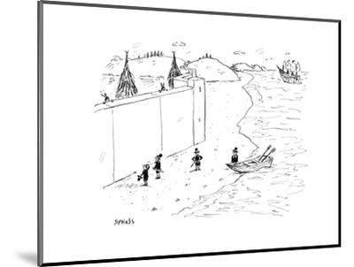 Refugees are denied entry into America - Cartoon-David Sipress-Mounted Premium Giclee Print