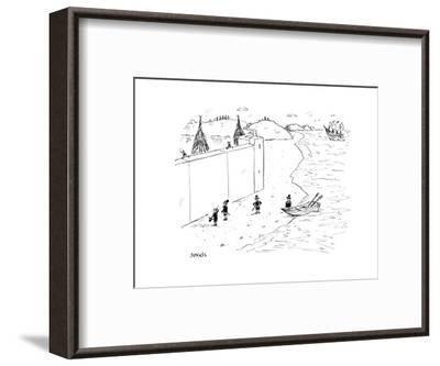 Refugees are denied entry into America - Cartoon-David Sipress-Framed Premium Giclee Print