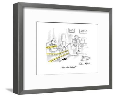 """""""Now what did I do?"""" - New Yorker Cartoon-Victoria Roberts-Framed Premium Giclee Print"""
