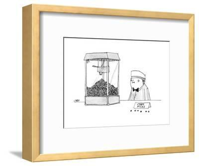 Movie theater attendant selling popcorn, to the right of the machine are t? - New Yorker Cartoon-Edward Steed-Framed Premium Giclee Print