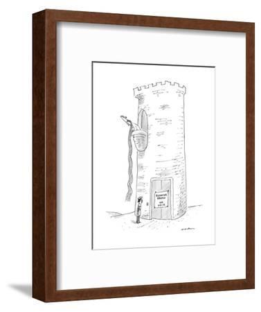 A prince reads that Rapunzel's tower's elevator is broken. - New Yorker Cartoon-Michael Maslin-Framed Premium Giclee Print