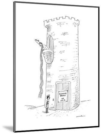 A prince reads that Rapunzel's tower's elevator is broken. - New Yorker Cartoon-Michael Maslin-Mounted Premium Giclee Print