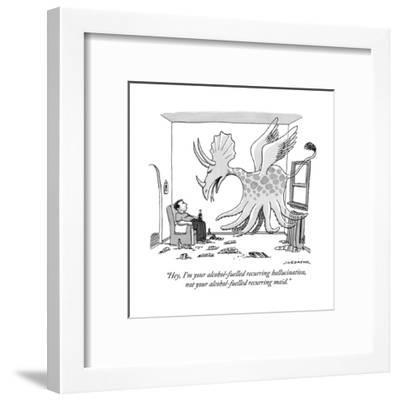 """""""Hey, I'm your alcohol-fuelled recurring hallucination, not your alcohol-f?"""" - New Yorker Cartoon-Joe Dator-Framed Premium Giclee Print"""