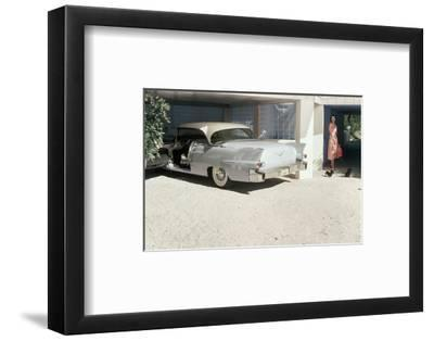 Pale Blue Cadillac Eldorado Seville in Garage--Framed Premium Photographic Print