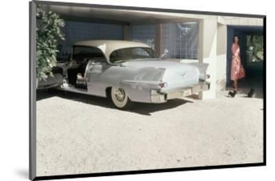 Pale Blue Cadillac Eldorado Seville in Garage--Mounted Premium Photographic Print
