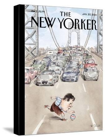 Playing in Traffic - The New Yorker Cover, January 20, 2014-Barry Blitt-Stretched Canvas Print