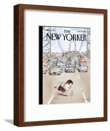 Playing in Traffic - The New Yorker Cover, January 20, 2014-Barry Blitt-Framed Premium Giclee Print