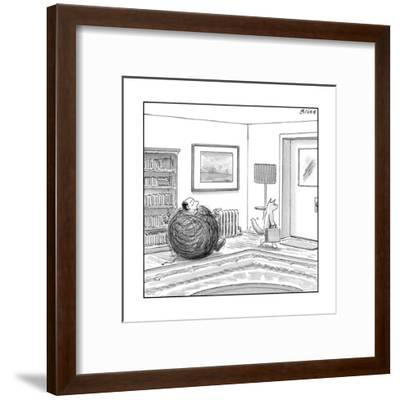 A man is stuck in a yarn ball and his cat leaves the room holding a briefc - New Yorker Cartoon-Harry Bliss-Framed Premium Giclee Print