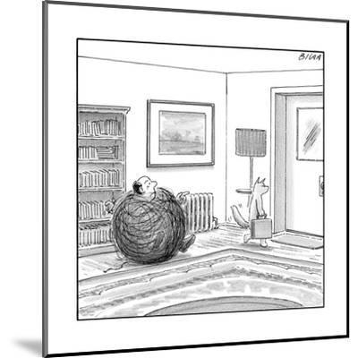 A man is stuck in a yarn ball and his cat leaves the room holding a briefc - New Yorker Cartoon-Harry Bliss-Mounted Premium Giclee Print