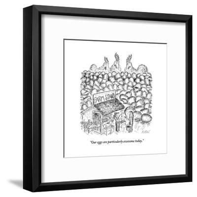 """Our eggs are particularly awesome today."" - New Yorker Cartoon-Edward Koren-Framed Premium Giclee Print"