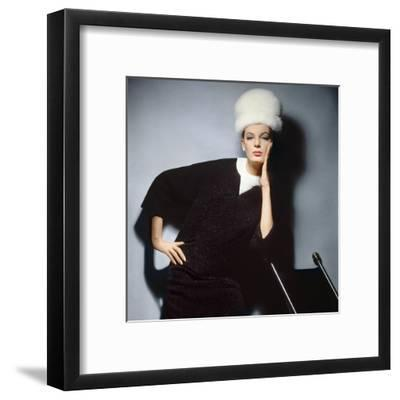 Model in Black Wool Bill Blass Dress with Neck of White Mink and Mink Hat--Framed Premium Photographic Print