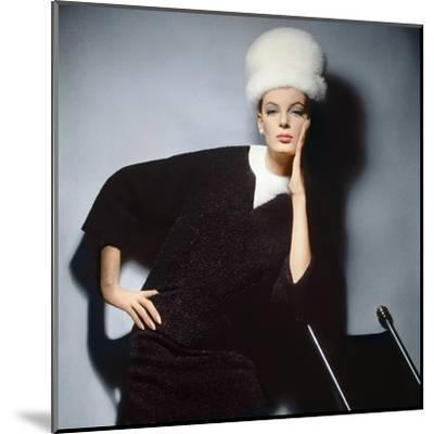 Model in Black Wool Bill Blass Dress with Neck of White Mink and Mink Hat--Mounted Premium Photographic Print