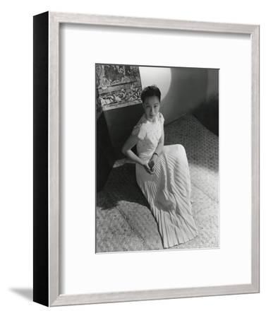 Miss Li Ling-Ai Wearing Pleated Short-Sleeved Evening Dress by Hattie Carnegie--Framed Premium Photographic Print