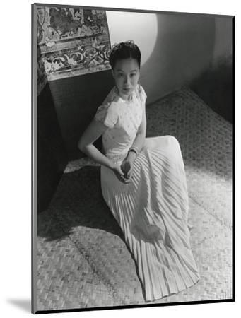 Miss Li Ling-Ai Wearing Pleated Short-Sleeved Evening Dress by Hattie Carnegie--Mounted Premium Photographic Print
