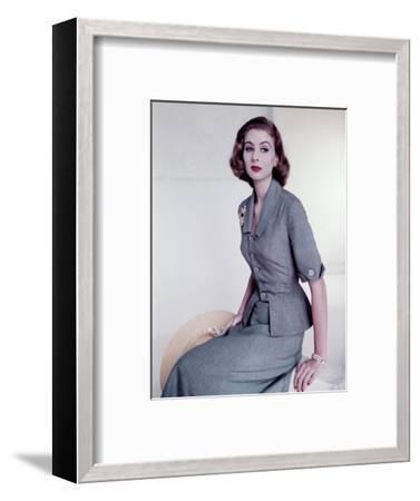 Model Wearing Italian Sky Blue Silk Suit--Framed Premium Photographic Print