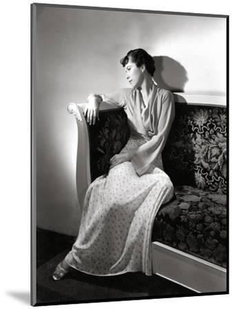 Madame Jean Bonnardel Wearing a Silky Print Dress with Jacket by Vionnet and Grecian Sandals--Mounted Premium Photographic Print