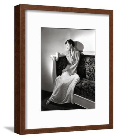 Madame Jean Bonnardel Wearing a Silky Print Dress with Jacket by Vionnet and Grecian Sandals--Framed Premium Photographic Print