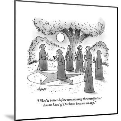 """""""I liked it better before summoning the omnipotent demon Lord of Darkness ?"""" - New Yorker Cartoon-Tom Cheney-Mounted Premium Giclee Print"""