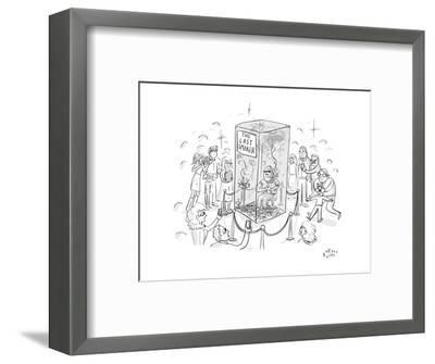 """(A man smokes cigarettes in a glass box with a sign that reads """"The Last S? - New Yorker Cartoon-Farley Katz-Framed Premium Giclee Print"""