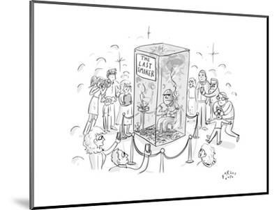 """(A man smokes cigarettes in a glass box with a sign that reads """"The Last S? - New Yorker Cartoon-Farley Katz-Mounted Premium Giclee Print"""