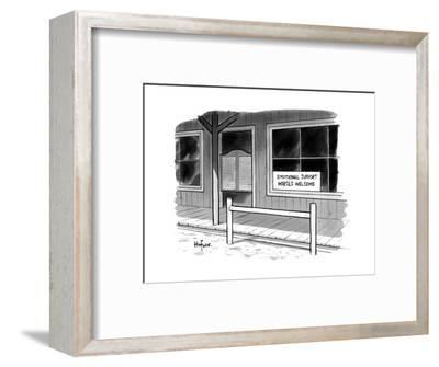 "Outside of a Western bar, a sign reads, ""Emotional Support Horses Welcome. - New Yorker Cartoon--Framed Premium Giclee Print"
