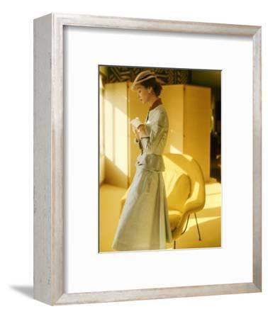 Model Wearing a Gold Silk Taffeta Velvet Buttoned Suit--Framed Premium Photographic Print