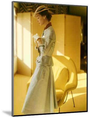 Model Wearing a Gold Silk Taffeta Velvet Buttoned Suit--Mounted Premium Photographic Print