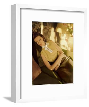 Modeling Wearing a Gold Irish Linen Sleeveless Blouse Buttoned in the Back by Sidney Heller--Framed Premium Photographic Print