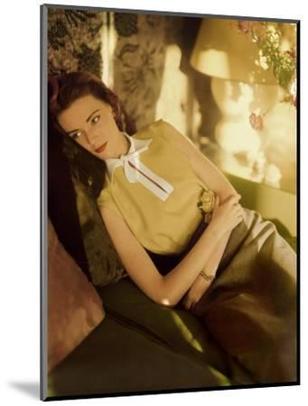 Modeling Wearing a Gold Irish Linen Sleeveless Blouse Buttoned in the Back by Sidney Heller--Mounted Premium Photographic Print