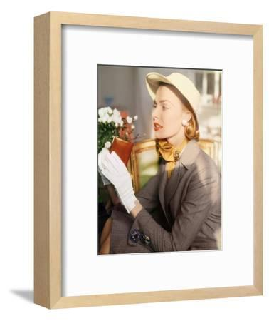 Model Wearing a Hair Line Worsted Suit--Framed Premium Photographic Print