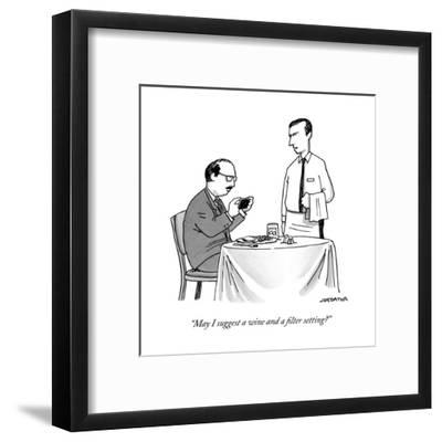 """""""May I suggest a wine and a filter setting?"""" - New Yorker Cartoon-Joe Dator-Framed Premium Giclee Print"""