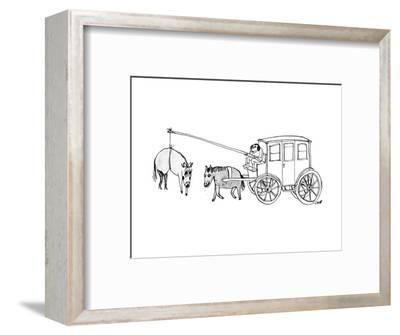 A handsome cab driver dangles a  horse in high heels and makeup in front o? - New Yorker Cartoon--Framed Premium Giclee Print