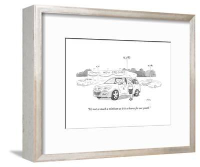 """""""It's not so much a minivan as it is a hearse for our youth."""" - New Yorker Cartoon--Framed Premium Giclee Print"""
