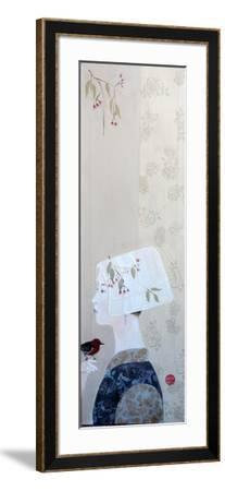 Japanese Lady in Bonnet with Honey Eater, 2015-Susan Adams-Framed Giclee Print