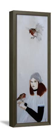 Little RedHead with Robin, 2016-Susan Adams-Framed Stretched Canvas Print