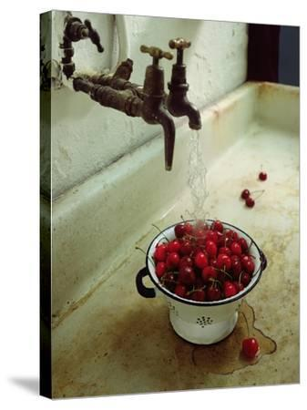 Washing cherries, 1988-Norman Hollands-Stretched Canvas Print