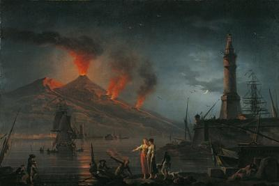Eruption of Vesuvius by Charles Francois Lacroix De Marseille, 18th C.-Charles Francois Lacroix de Marseille-Stretched Canvas Print