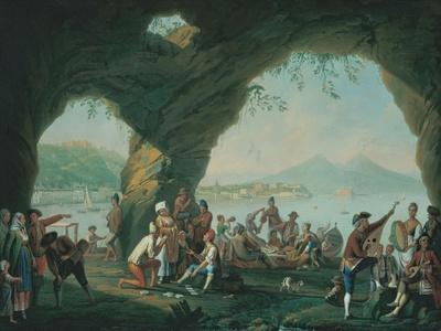 Everyday Life in a Cave in Posillipo, Near Naples Italy-Pietro Fabris-Stretched Canvas Print