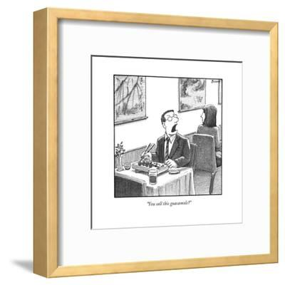 A man yelling loudly, complaining in a sushi restaurant  - New Yorker Cartoon-Harry Bliss-Framed Premium Giclee Print