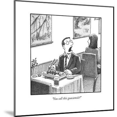 A man yelling loudly, complaining in a sushi restaurant  - New Yorker Cartoon-Harry Bliss-Mounted Premium Giclee Print