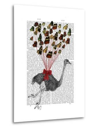 Ostrich Flying with Butterflies-Fab Funky-Metal Print