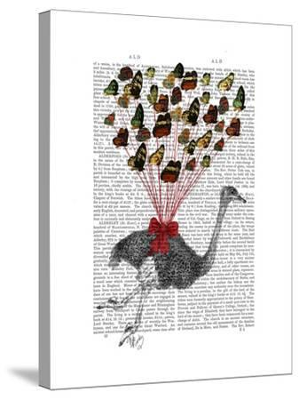 Ostrich Flying with Butterflies-Fab Funky-Stretched Canvas Print