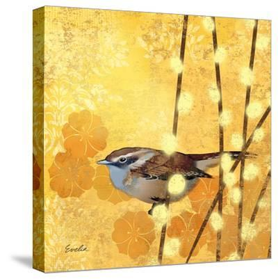 Wren on Yellow I-Evelia Designs-Stretched Canvas Print