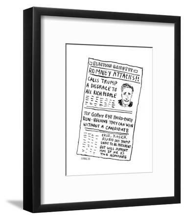 Romney Attacks! - Cartoon-David Sipress-Framed Premium Giclee Print