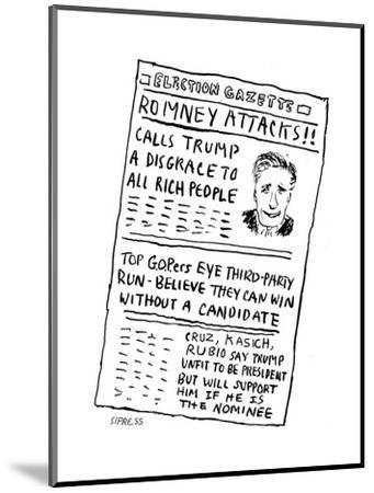 Romney Attacks! - Cartoon-David Sipress-Mounted Premium Giclee Print