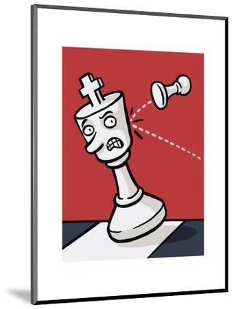 A pawn knocks over a King - Cartoon-Christoph Niemann-Mounted Premium Giclee Print