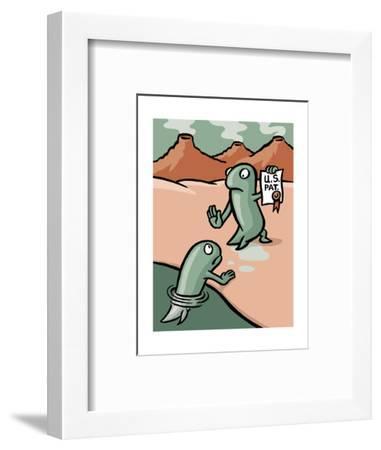 A fish patents evolution - Cartoon-Christoph Niemann-Framed Premium Giclee Print